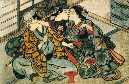 日本绘画:一个女人同时接待两个客人