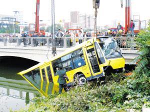 天津公交车冲入河中四名乘客溺水身亡高清图片