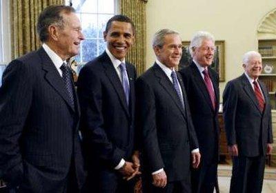 布什奥巴马同美国所有健在前总统共进午餐[图]