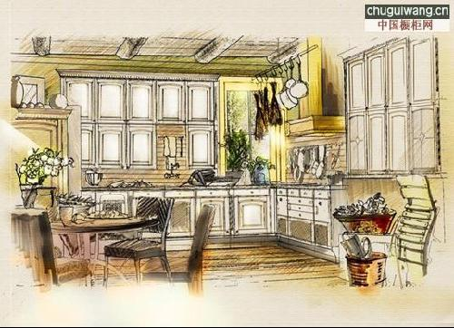 古代厨房手绘