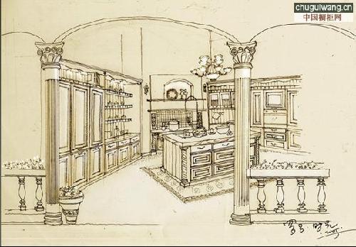 手绘橱柜效果图表现经典橱柜效果