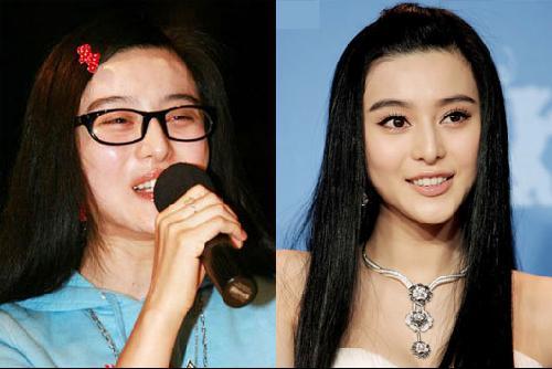 李湘素颜眼镜图片