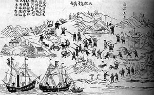 广东人民英勇抵抗外国入侵者的场景