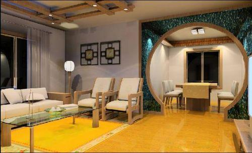 客廳墻面的裝飾畫,中式拱門作為客廳與餐廳的隔斷