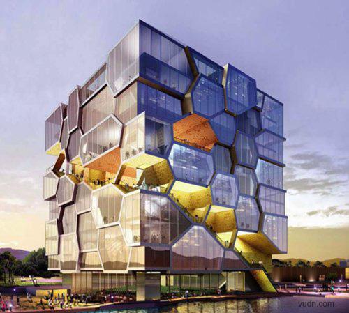 建筑结构由六角形晶体细胞组成