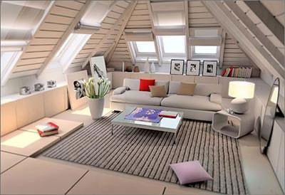 别墅斜顶阁楼装修实现小空间大利用高清图片