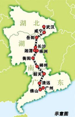 资料图:武广铁路客运专线路线图