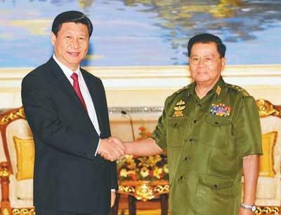 习近平会见缅甸领导人 强调维护中缅边境稳定图片