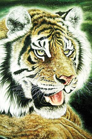 壁纸 动物 国画 虎 老虎 桌面 300_450 竖版 竖屏 手机