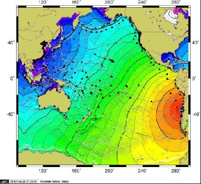 南太平洋国家,中太平洋夏威夷群岛及北美沿海受海啸影响较小,汤加共和