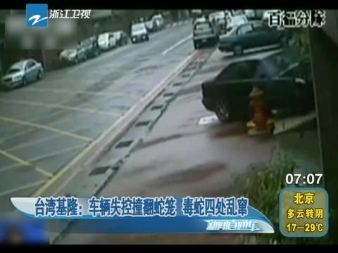 台湾一车辆失控撞翻蛇笼 毒蛇四处乱窜