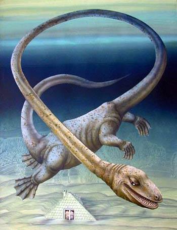 恐龙化石中发现外星人头盖骨