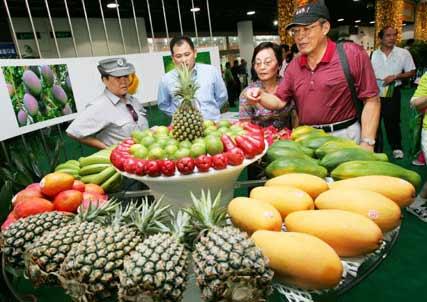 几位观众在参观台湾时令水果拼盘.