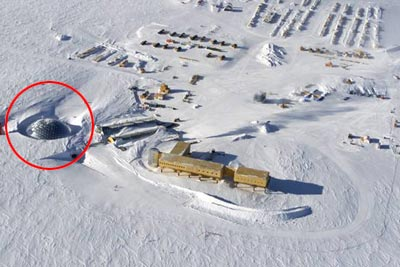 俯视南极的蛋形建筑物外景.-美国在南极建立蛋型建筑图片