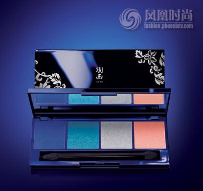 深蓝色金属光泽外盒与表面的青花瓷艺术花纹