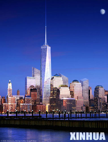 自由塔是纽约世贸中心遗址重建工程的重点