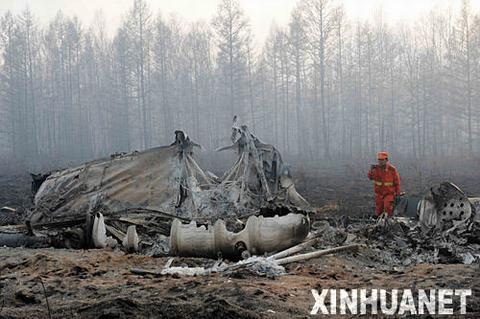 内蒙古大兴安岭森林大火 运兵直升机坠毁(组图)