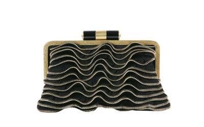 YSL推黑色丝缎镶嵌金色拉链荷叶手包