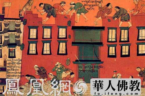 ...布达拉宫西大殿二层上的壁画,描绘了修建布达拉宫红宫的情景...