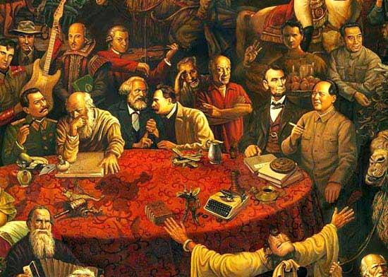 油画截屏图:毛泽东与林肯相邻而坐