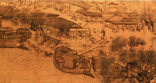 书画之宝《清明上河图》为故宫书画代表作品,该画为张择端所作,以精致的工笔记录了北宋末叶、徽宗时代首都汴京(今开封)郊区和城内汴河两岸的建筑和民生。全图分为三个段落。在5米多长的画卷里,共绘了550多个各色人物。