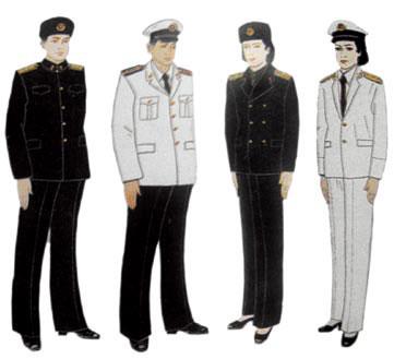 87式海军军官冬、夏常服及将官夏季礼服(右一)-共和国海军87式军服图片