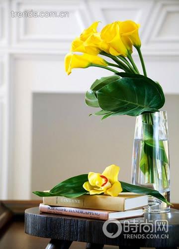 1.龟背竹有着宽厚硕大的叶片,通常它为花材起到了烘托主题的作用。黄色马蹄莲花朵有着强烈的视觉效果,龟背竹恰为它提供了不会喧宾夺主的包装与陪衬。   花材:马蹄莲与龟背叶   制作:将马蹄兰扎成花束,加几片叶材在底部,插入瓶中即可。