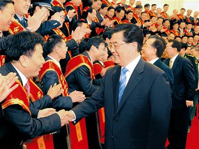 胡锦涛等领导人会见全国优秀复员退伍军人图片