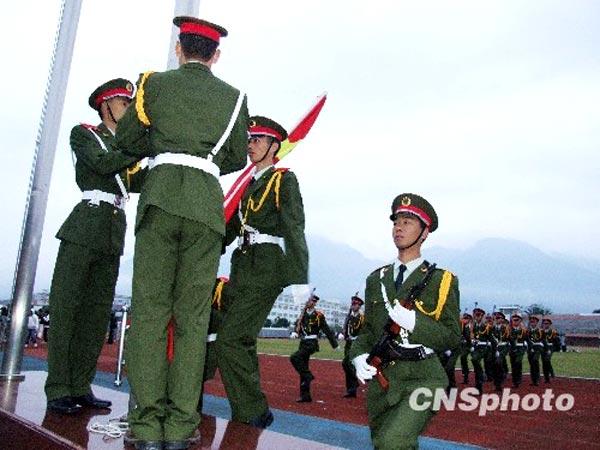 11月27日上午,福建省最专业高校国旗护卫队在福建师范大学