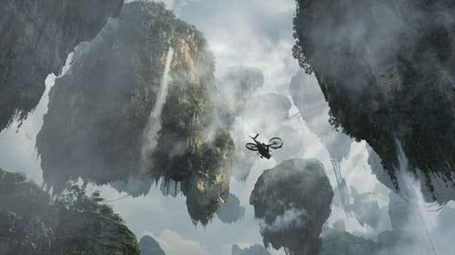 """潘多拉星球超导体矿山——""""哈利路亚""""山悬浮在空中."""