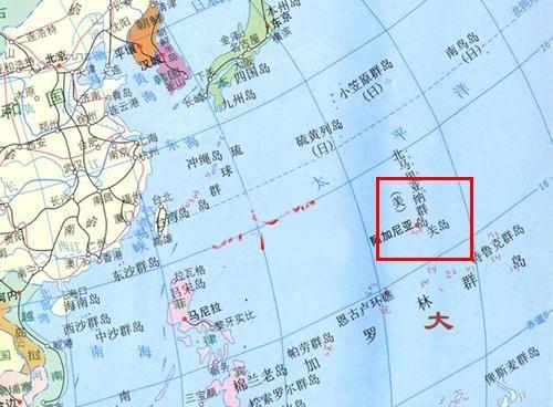图中红色方框内为关岛位置,距离中国大约4000公里.资料图片