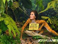 """马来西亚名模""""虎体彩绘""""倡议保护动物[图集]"""