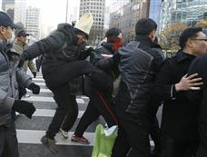 韩国农民集会抗议韩美自由贸易协定[图集]