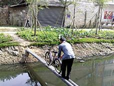 污水河上燃气管当桥 每天百余人过如演杂技[图集]