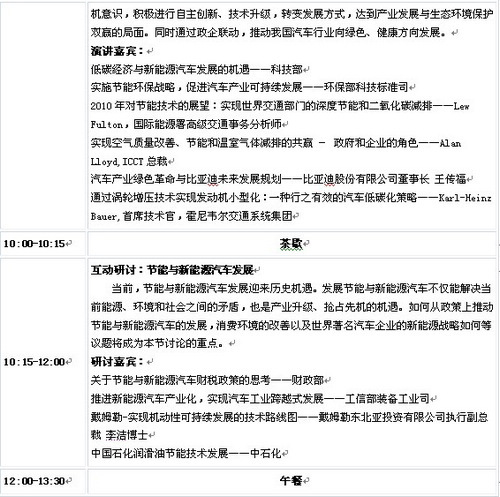 2010中国汽车产业发展论坛日程安排(3)