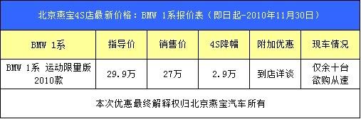 京城最后10台BMW 1系运动限量版北京燕宝限时抢购