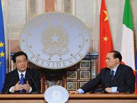 中国国家主席胡锦涛与意大利总理贝卢斯科尼在罗马共同会见记者