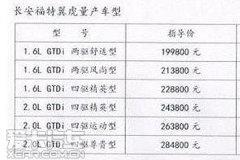 疑似国产翼虎售价表曝光 或起售19.98万