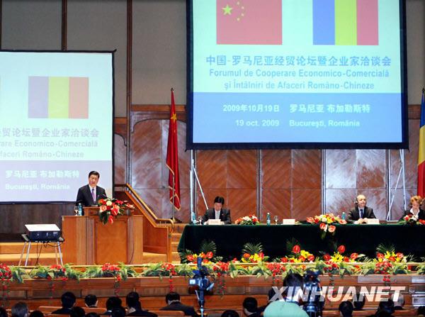 习近平出席中罗经贸论坛并发表讲话