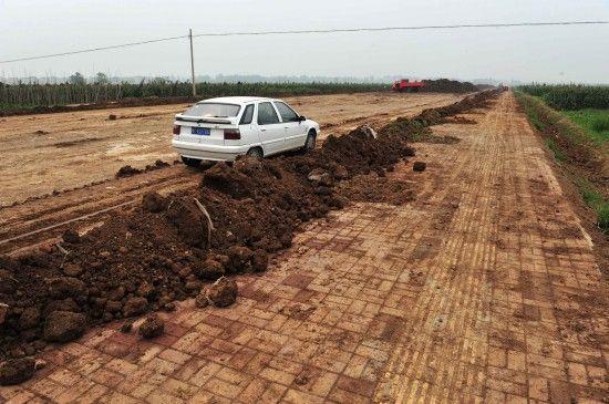 湖北襄阳工业园水泥路上盖土种菜躲避检查(图)