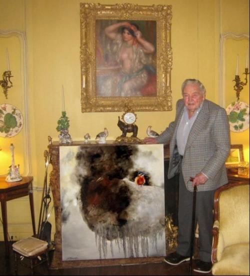 洛克菲勒家族收藏黄月花鸟油画(2)