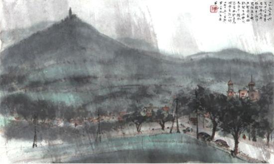 傅抱石《返布拉格途中雨景》设色纸本 镜心
