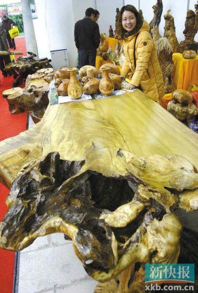 在南京展出的一张楠木根雕桌让参观者大饱眼福。据了解,这张楠木根雕桌的桌面在树根上做成,并保留了其余的树根作装饰。CFP供图(资料图片)