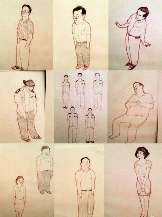 宋拓作品《公务员》,描摹的公务员神态各异,但形象多是双手并肩垂直,低头含胸,表情拘谨
