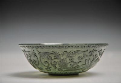 和田玉碧玉雕痕都斯坦式薄胎花卉纹碗
