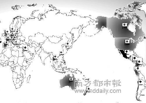 猪流感全球疫情分布简图制图:黄敬