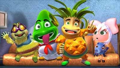 为了拯救危难,四个可爱的蔬果宝贝:蕃茄姐姐媚莉莎,菠萝哥哥嘟嘟旺,辣