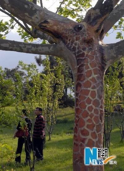 公园绘有动物造型的树木