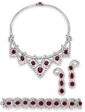 卡地亚红宝石首饰套装   红宝石及钻石首饰套装   卡地亚...