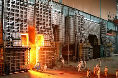 工程核心生产设备——炼钢转炉的公称容量250吨,最大出钢